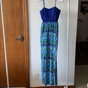 No Boundaries Blue Green Maxi Dress